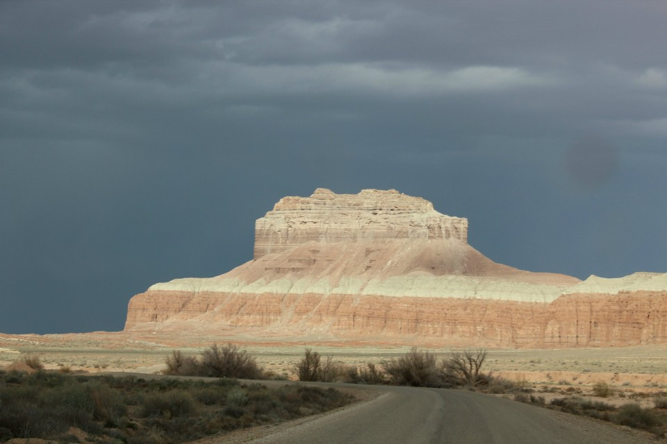 A storm rolling in over the San Rafael Reef after our hike